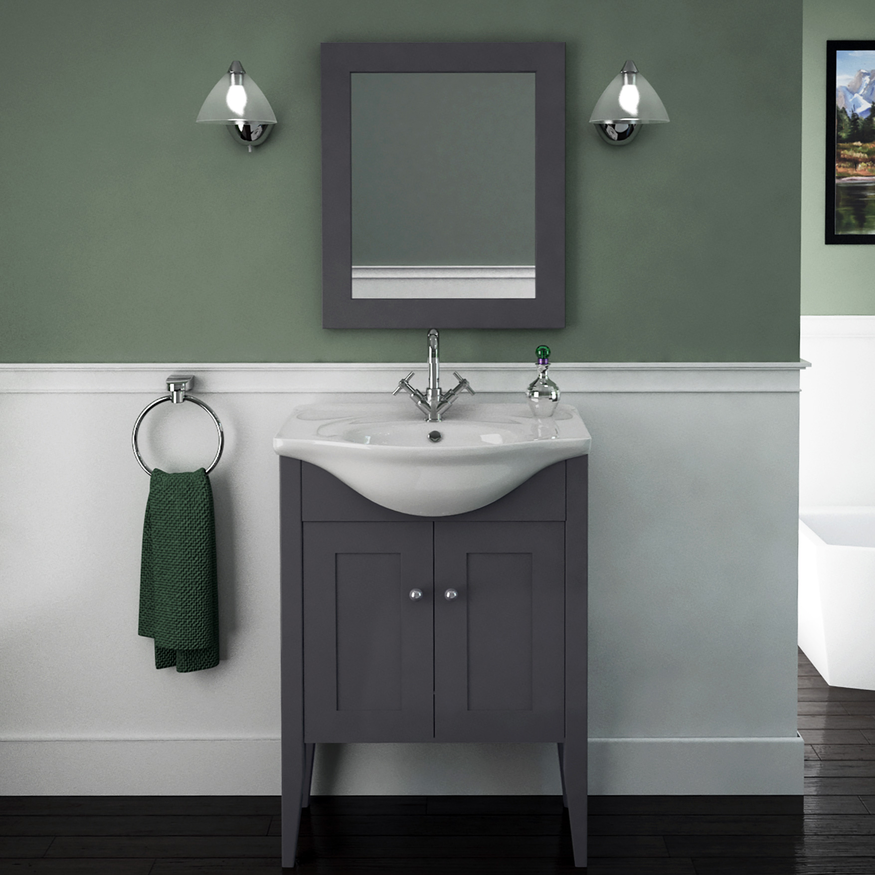 Carolla vanity unit and basin charcoal grey buy online for Charcoal bathroom accessories