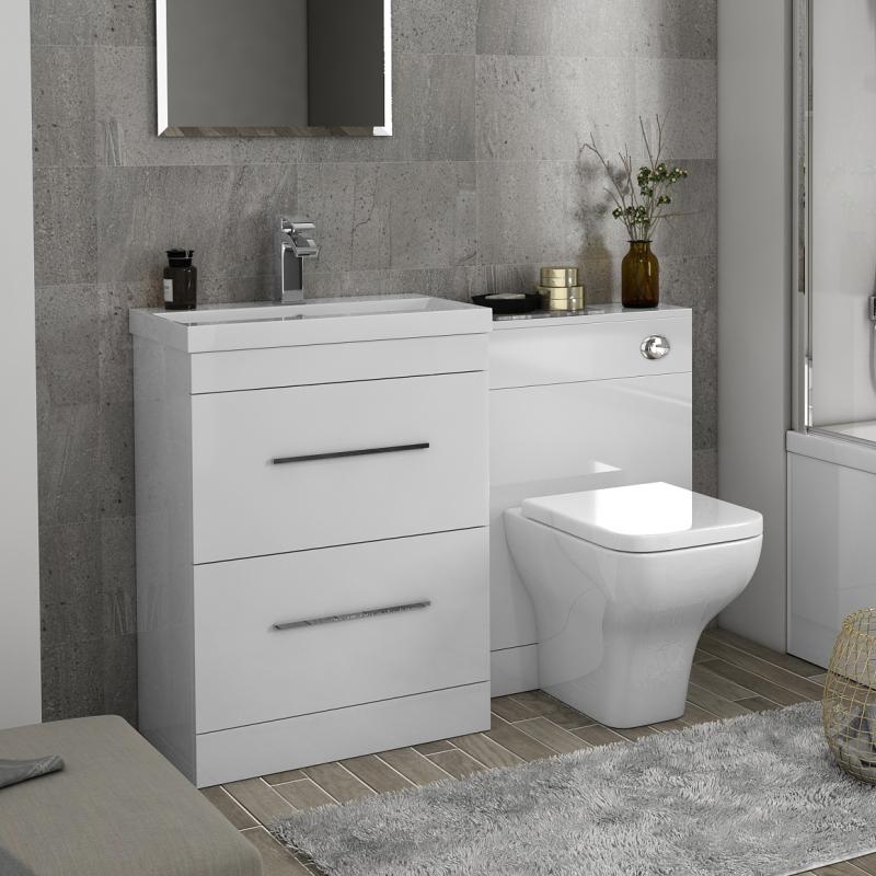 Patello 1200 Bathroom Furniture Set White Straight Stylish Bathroom And  Cloakroom ...