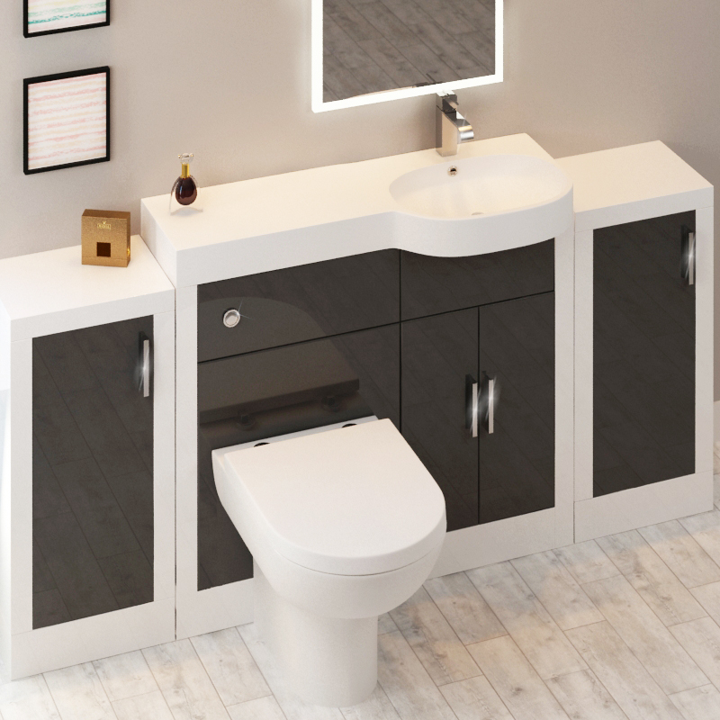 ... Apollo Bathroom Fitted Furniture Set (Grey) WITH 2 Storage Units    174539 ... Part 95