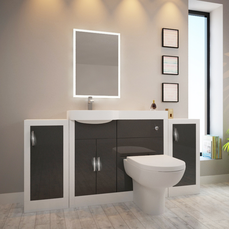 Apollo Bathroom Fitted Furniture Set Grey With 2 Storage