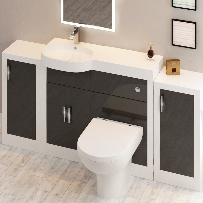 Apollo Bathroom Fitted Furniture Set Grey With 2 Storage Units Buy Online At Bathroom City