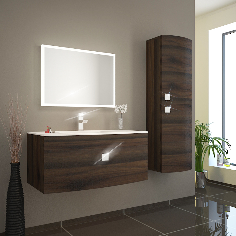 Bc Curved 900 Vanity Unit Wall Hung Brown And Glass Basin White Buy Online At Bathroom City