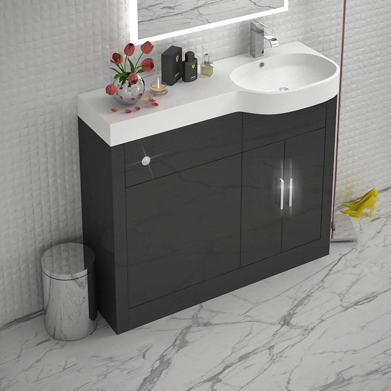 Grey 1000 Vanity Unit Rh Buy Online At Bathroom City