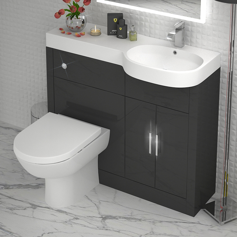 Grey 1000 Vanity Unit Rh Buy Online At Bathroom City