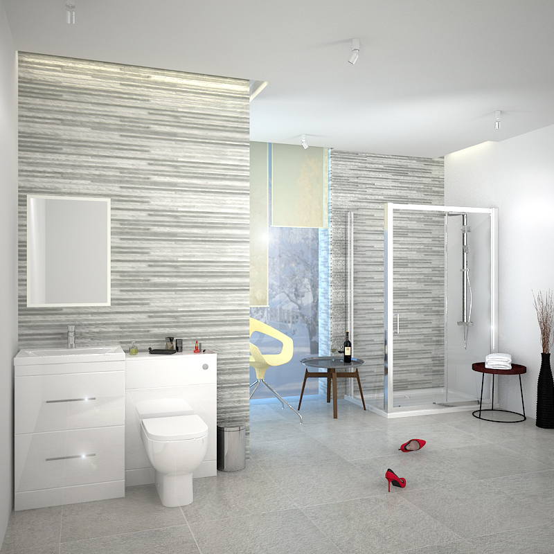 PATELLO WHITE COMBI VANITY TOILET AND SHOWER SLIDING DOOR ENCLOSURE Bathroom  SUITE Fashionable ...