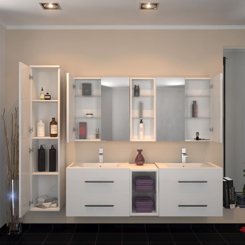 Buy Sonix 1500 Wall Hung Double Basin Vanity Unit White