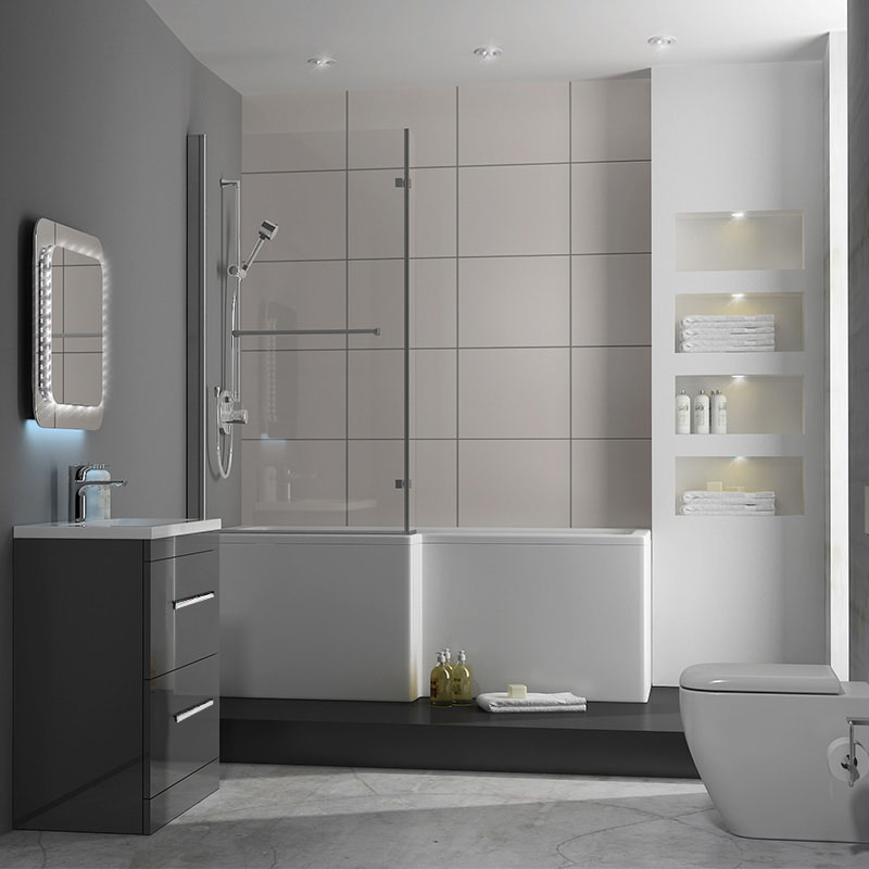 Patello 60 Grey L Shapped Shower Bath Suite Buy Online At