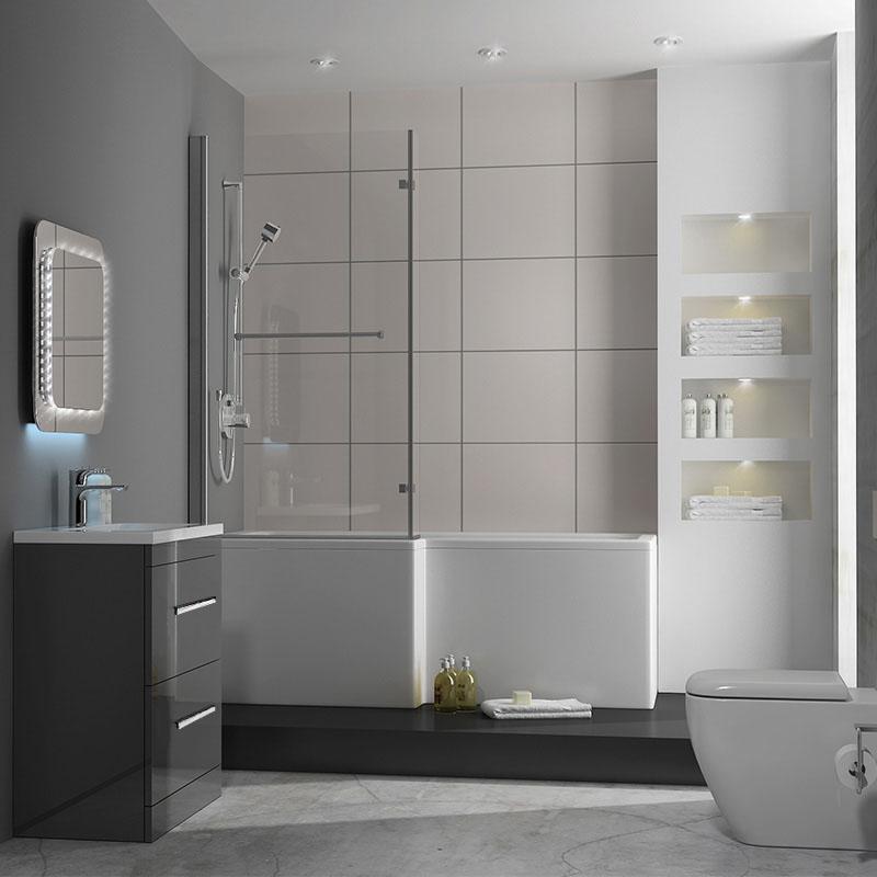 Patello 60 grey l shaped shower bath suite buy online at for Grey bathroom suite ideas