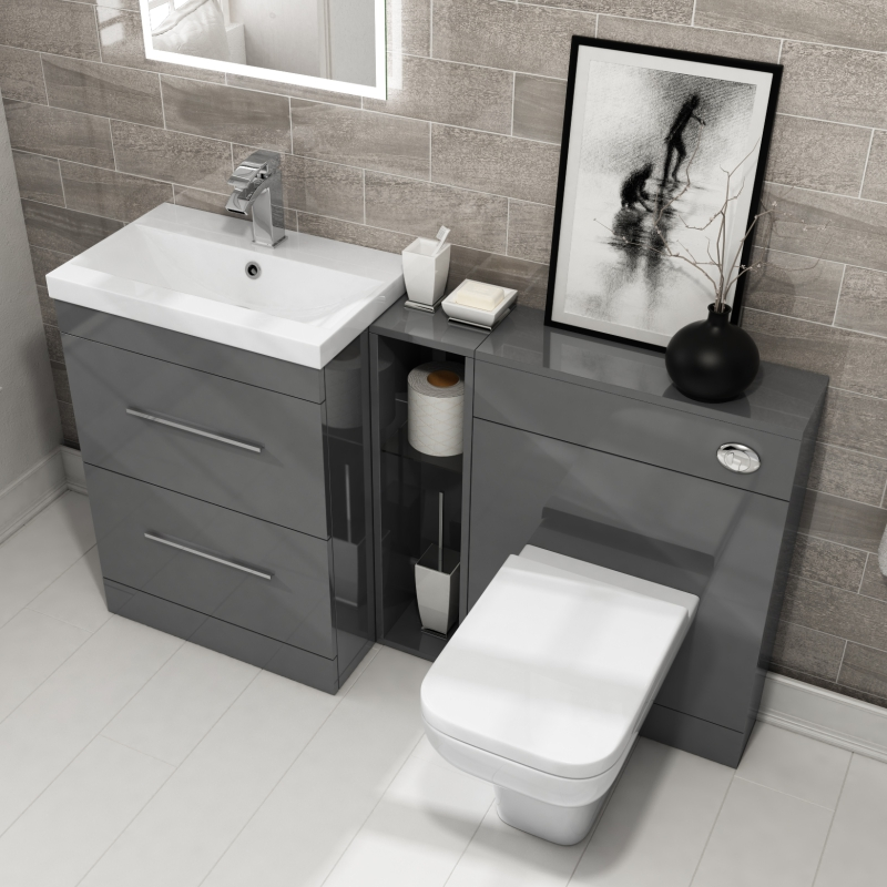 ... Patello 1400 Vanity Furniture Set Grey - 174746 ... : bathroom sink and toilet cabinets - Cheerinfomania.Com