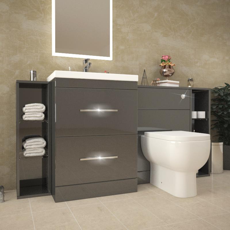 Beautiful ... Patello 1600 Fitted Bathroom Furniture Grey   174753 ...