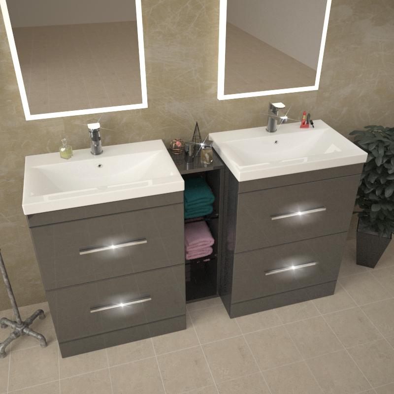 Patello 1400 Double Vanity Unit Grey Buy Online At