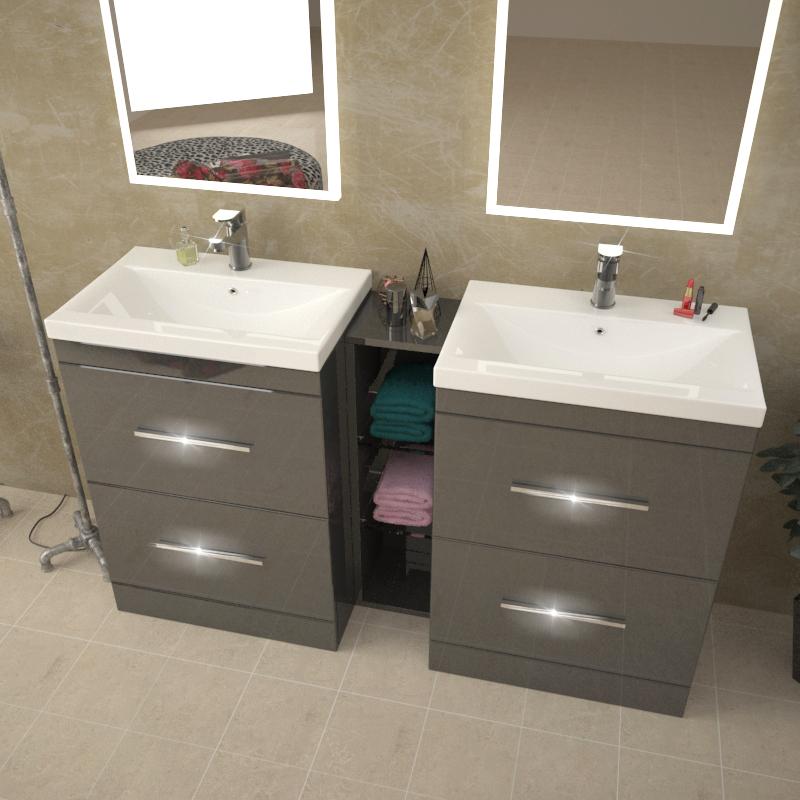 Patello 1400 Double Vanity Unit Grey Buy Online At ...