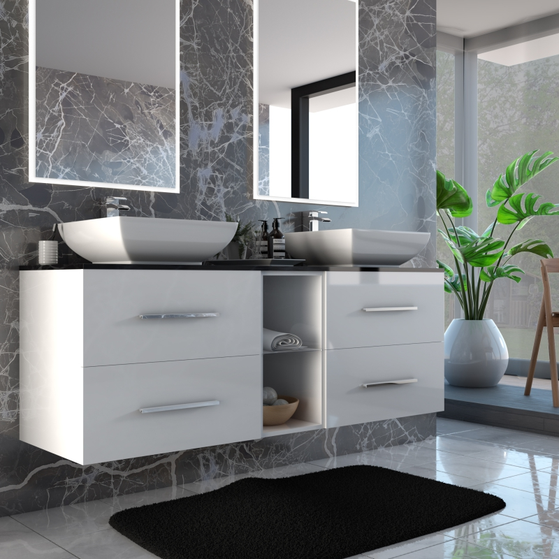 Sonix 1500 Glass Top Wall Hung Double Vanity Unit Inc ...