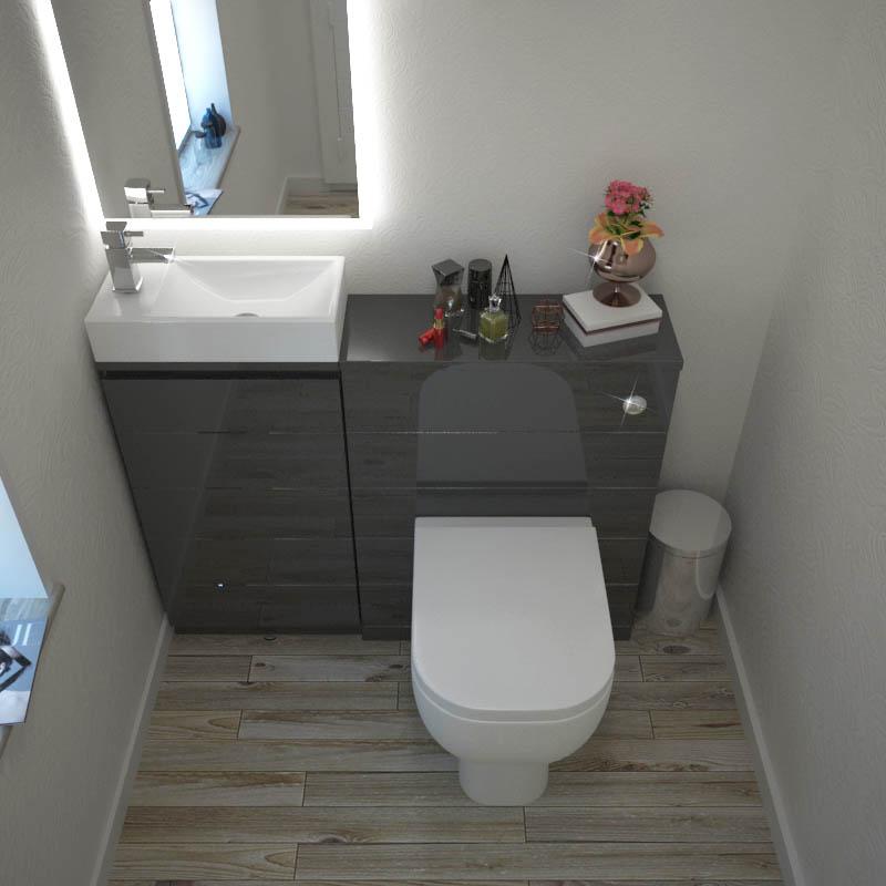 Mercury grey 1010 cloakroom suite buy online at bathroom city for Grey bathroom suite ideas