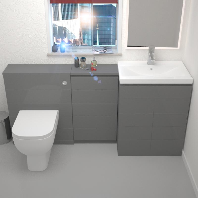 Mercury Grey 1610mm Vanity Basin Storage Unit And Wc Unit Inc Toilet Buy Online At Bathroom City