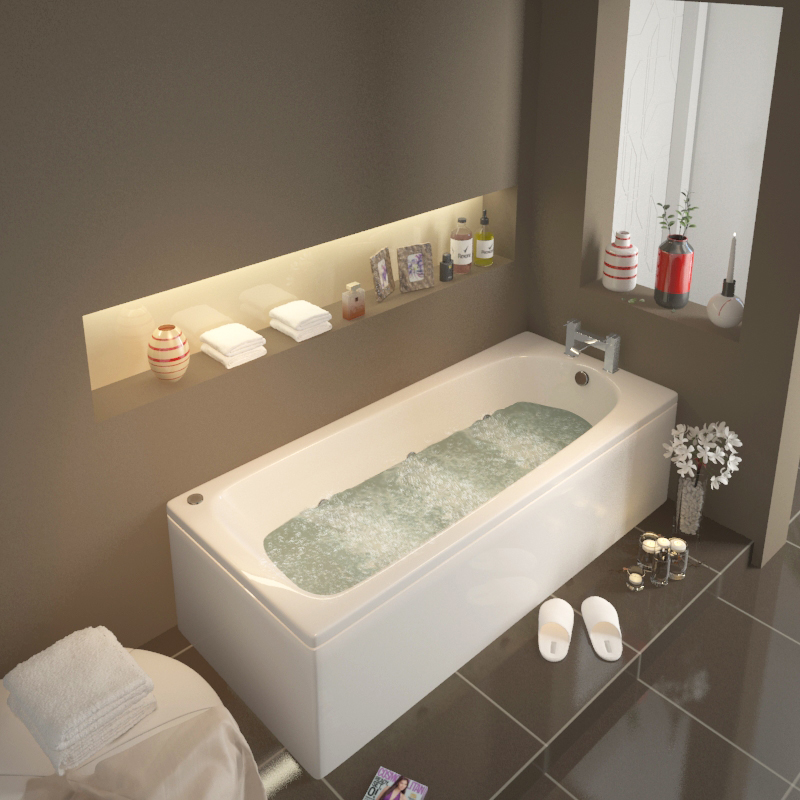 Laguna Straight Single Ended 1500x700 Whirlpool Bath Buy Online at ...