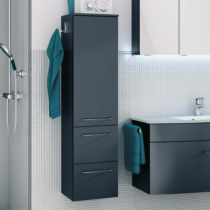 Cassca Wall Hung Bathroom Side Cabinet 1 Door 2 Drawer With Glass Shelves Buy Online At Bathroom