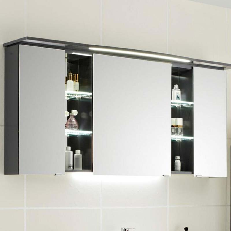 Contea Bathroom Mirror Cabinet 3 Double Mirrored Doors With Illuminated Canopy And Power Outlet