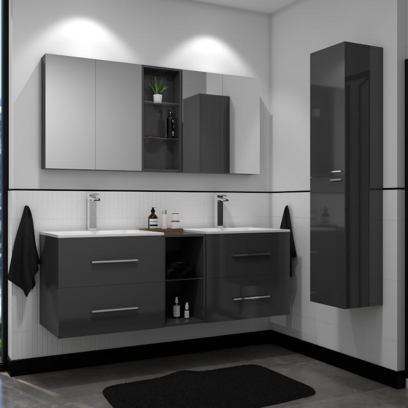 Sonix Grey Bathroom Suite 2 Units, Mirrored Bathroom Floor Cabinet
