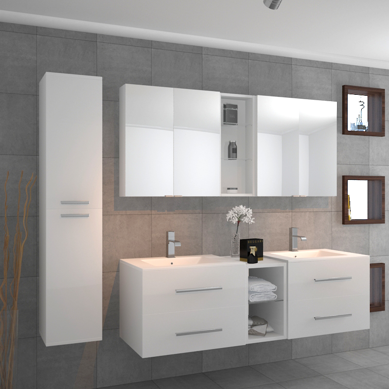 ... SONIX DOUBLE VANITY BATHROOM SUITE WHITE   176430 ...