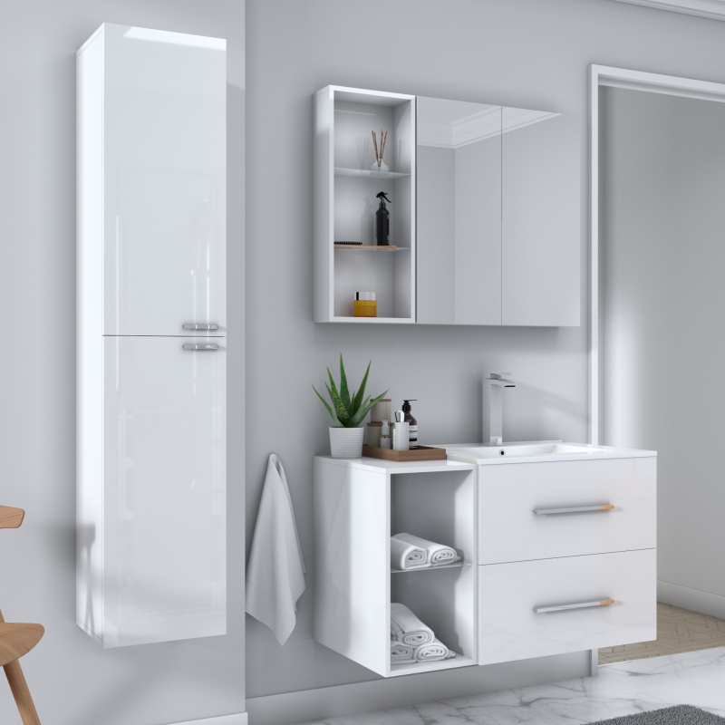 Sonix Bathroom Furniture Suite White, White Bathroom Cabinet