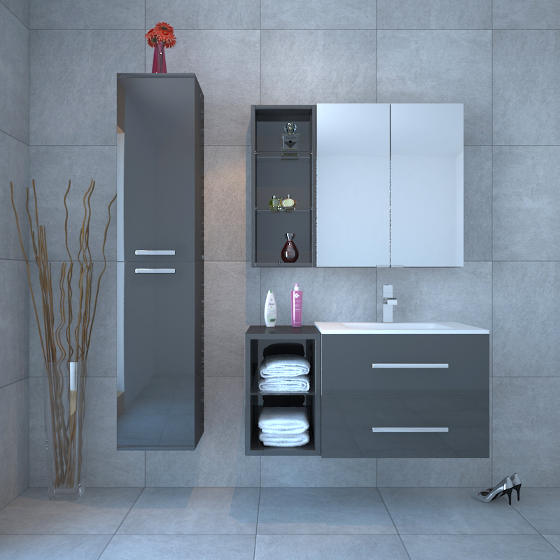 Wall Hung Grey Bathroom Vanity Unit And Basin ...