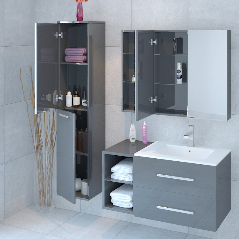 Grey Bathroom Furniture Uk: Sonix Bathroom Furniture Vanity Suite Grey Buy Online At