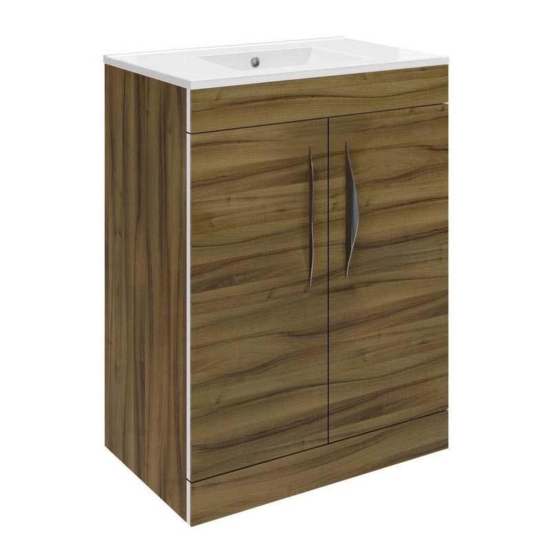 Walnut memoir 600mm 2 door bathroom cabinet and basin buy for Bathroom cabinets 600mm