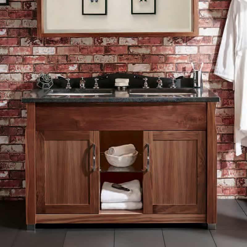 Westbury Twin 2 Door Double Basin Bathroom Vanity Unit With Marble