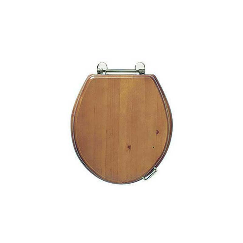 Oval Solid Wood Toilet Seat Chrome Hinge Colour Options