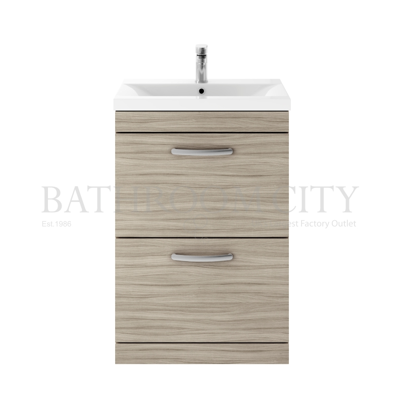 Atheana 600 free standing 2 draw bathroom vanity unit with basin colour options buy online at for Free standing bathroom vanity units