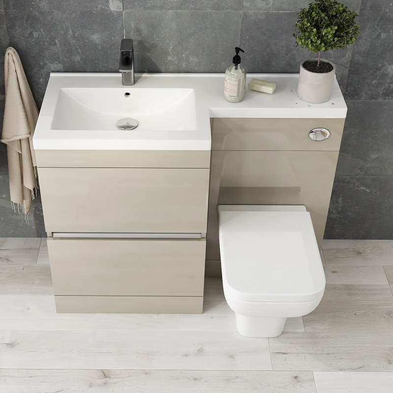 hot sale online 8d25c 4370a Pemberton L shape 2 drawer basin and toilet combination vanity unit