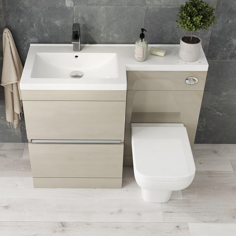 Pemberton Gold L Shape 2 Drawer Basin And Toilet