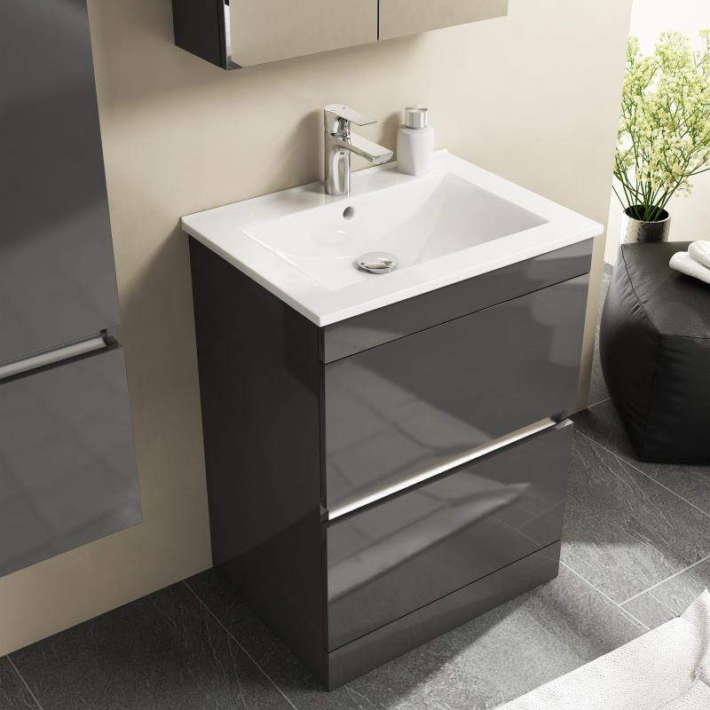 Pemberton Floor Standing Handless 2 Draw Unit Grey And Basin Buy Online At Bathroom City