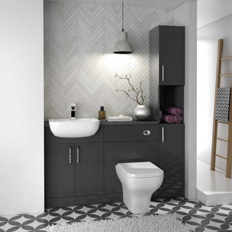 Oliver 1500 Fitted Bathroom Suite, Purple Bathroom Vanity