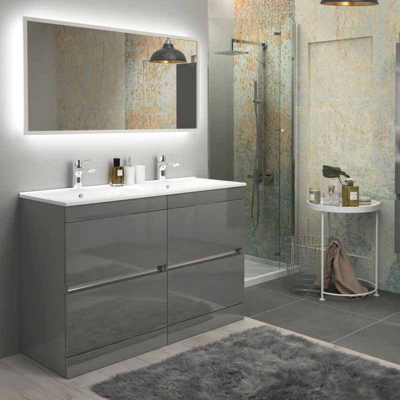 Enjoyable Pemberton Grey Floor Standing Handless 4 Drawers Double Basin Unit Complete Home Design Collection Papxelindsey Bellcom