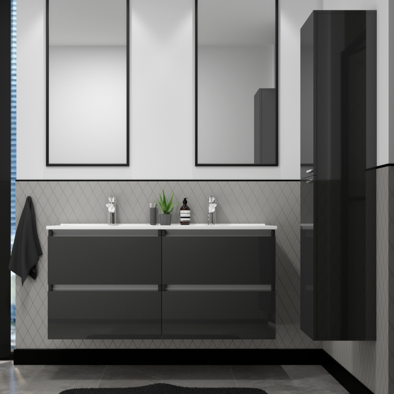 Pemberton Anthracite Wall Hung Double Basin Unit 4 Drawers Buy Online At Bathroom City