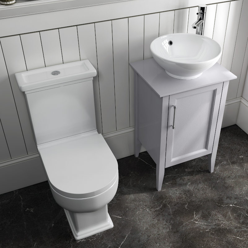 Old England 500 Dove Grey Suite Basin Unit With Toilet