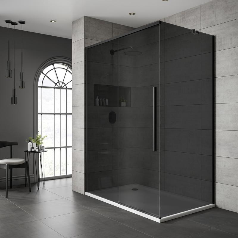 Jaquar Black Shower Enclosure Dark, Shower Stall With Sliding Glass Doors