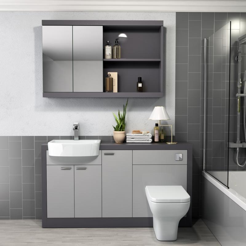 Grove 1500 Vanity Suite Straight Shower Bath   Buy Online ...