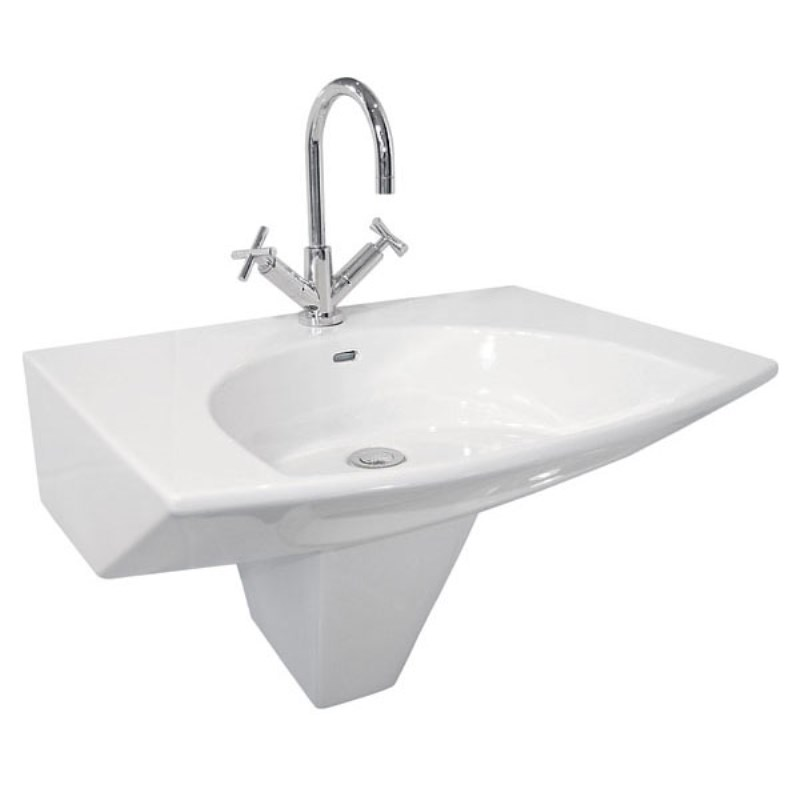 4th Dimension White Basin with 1 or 3 Tap Holes and Semi Pedestal - 20-106/1