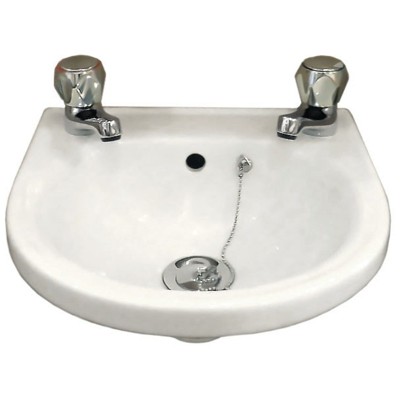 Wall Mounted Cloakroom Basin With 2 Tap Holes 163 35 Buy