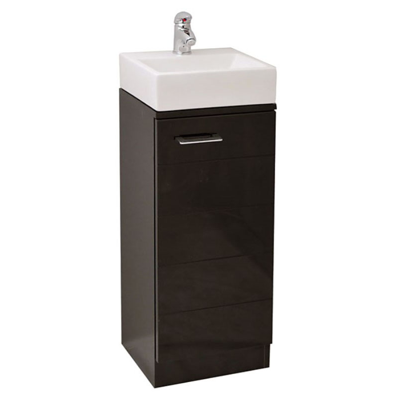 small anthracite cloak room vanity unit and basin with a tap