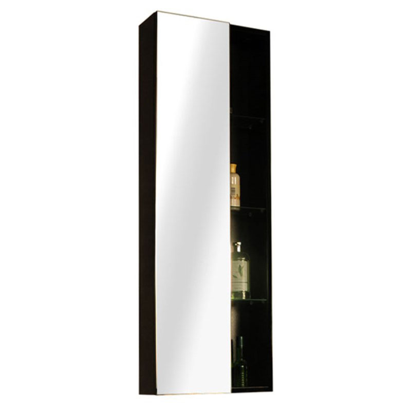 Glow Black Wall Hung Mirror Storage Unit High Quality ...