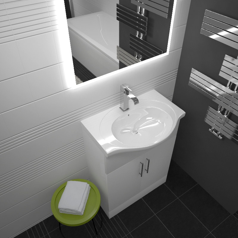 Ecco 550 Vanity Unit With Basin White Buy Online At Bathroom City