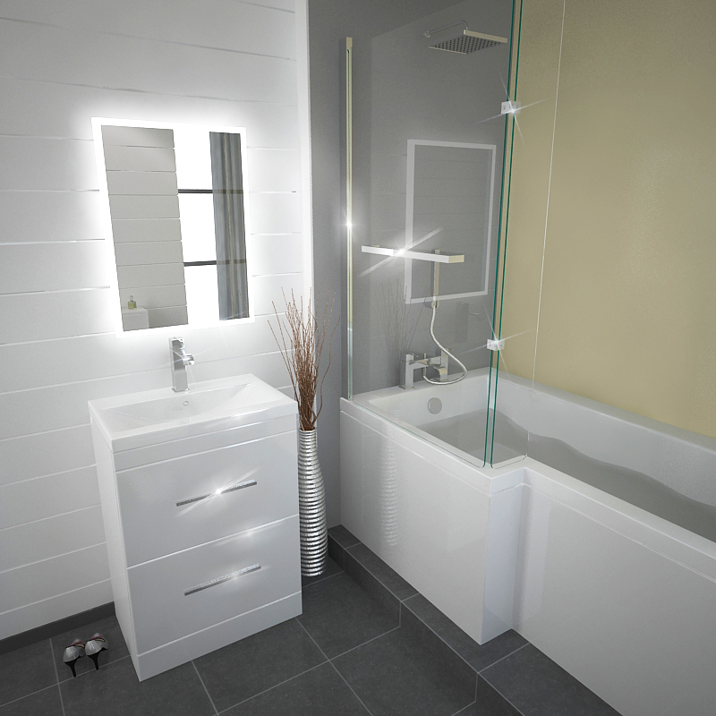 L Shape Shower Bath Left Handed Model White With Screen And Gloss Patello 60