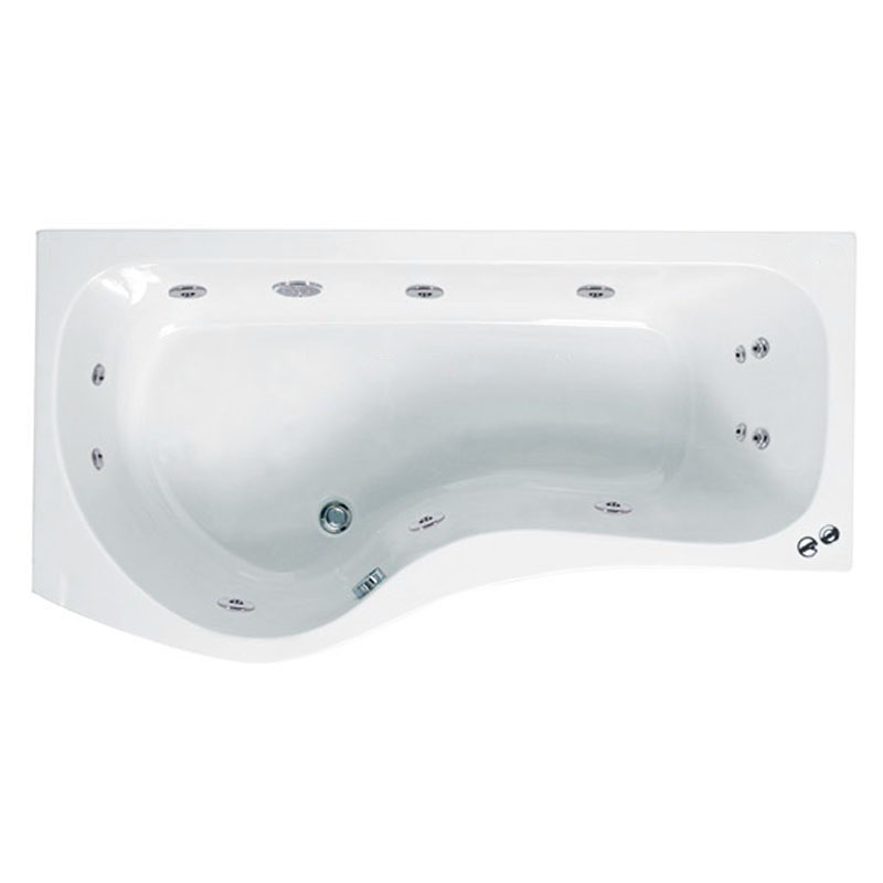 capri 1700 p shaped whirlpool shower bath lh bathroom city