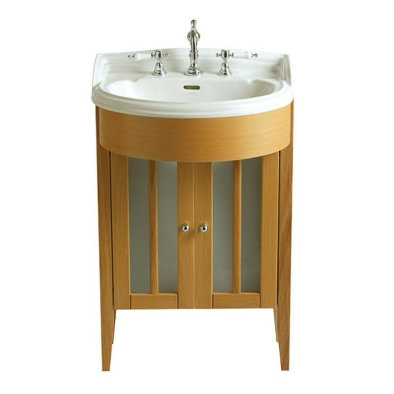 Bowfront medium vanity unit oak dorchester white basin 2 for Vanity sink units bathroom sale