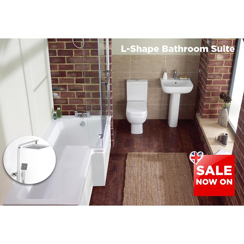 L shape bath suite inc s600 4 piece toilet set and bc cube for Bathroom auction sites