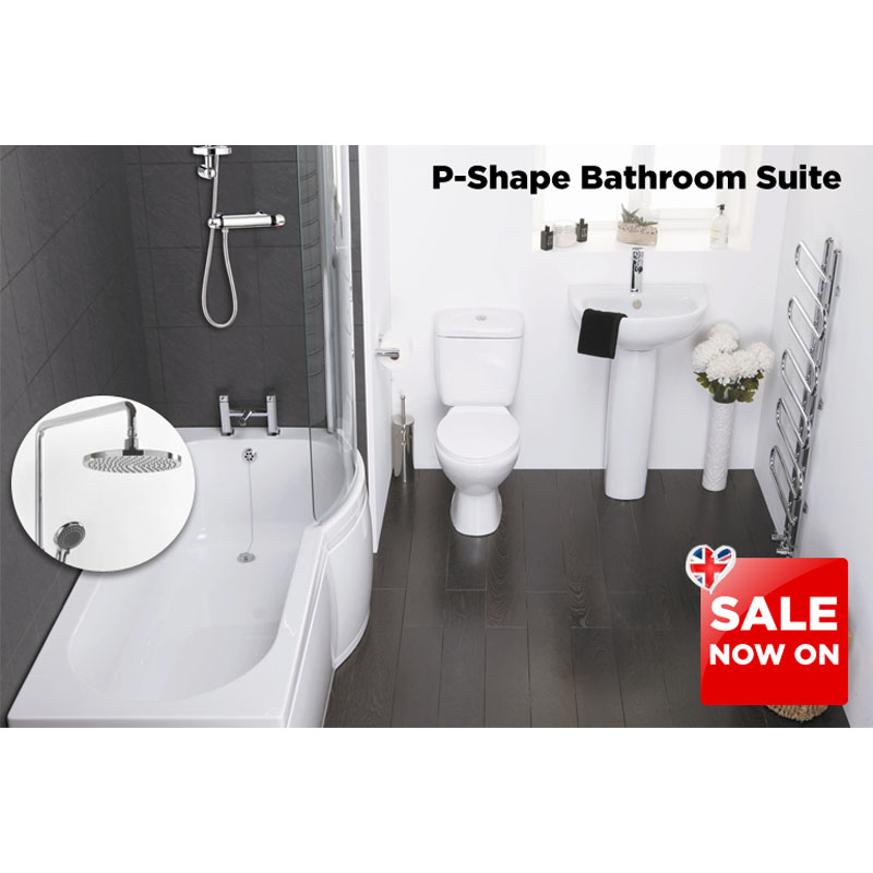 P Shape Bath Suite With Shower Valve And Taps Buy Online At Bathroom City